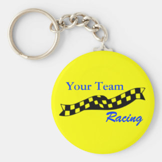 Checkered Flag Swoop Race Team Keychain