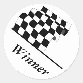 Checkered Flag Waving Race Winner Classic Round Sticker