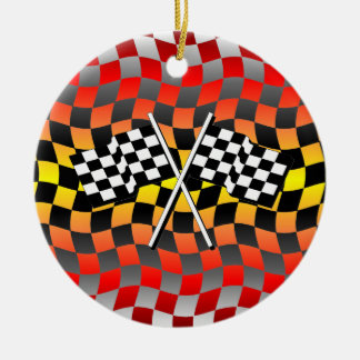 checkered flags ceramic ornament