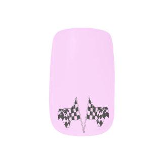 Checkered Flags Light Pink Minx Nail Art