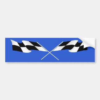 Checkered flags on blue car bumper sticker