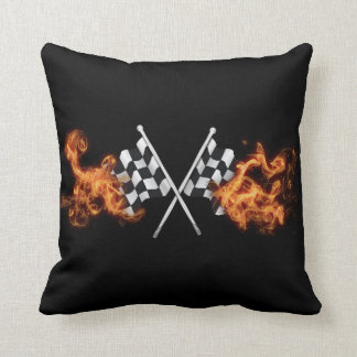 Checkered flags on fire throw pillow