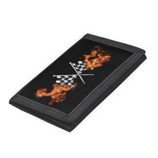 Checkered flags on fire tri-fold wallets