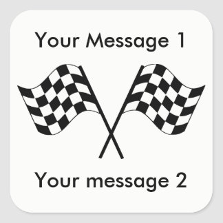 Checkered Flags Racing Personalized Square Sticker
