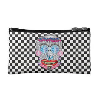 Checkered Gemma Candy Skull Makeup Bag