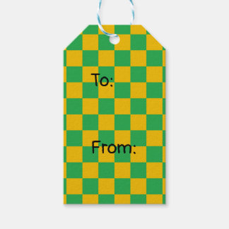 Checkered Green and Gold Gift Tags