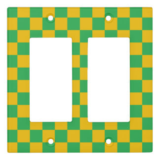 Checkered Green and Gold Light Switch Cover