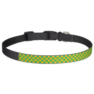 Checkered Green and Gold Pet Collar