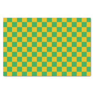 Checkered Green and Gold Tissue Paper