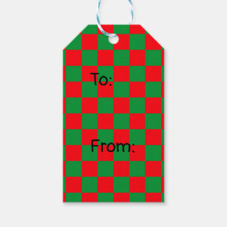 Checkered Green and Red Gift Tags