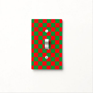 Checkered Green and Red Light Switch Cover