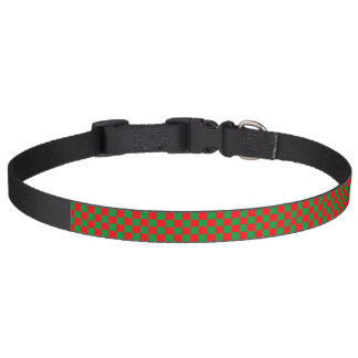 Checkered Green and Red Pet Collar
