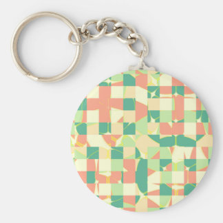Checkered green and salmon basic round button keychain