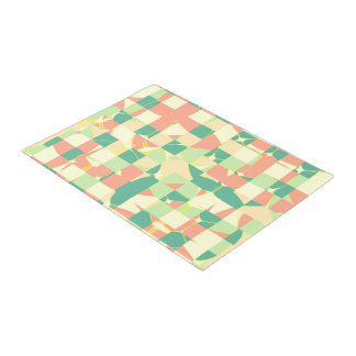 Checkered green and salmon doormat