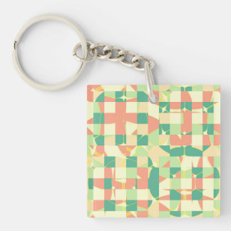 Checkered green and salmon Double-Sided square acrylic keychain