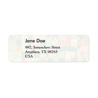 Checkered green and salmon return address label