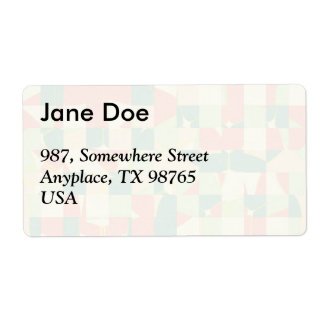 Checkered green and salmon shipping label