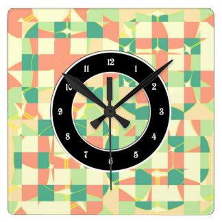 Checkered green and salmon wall clock