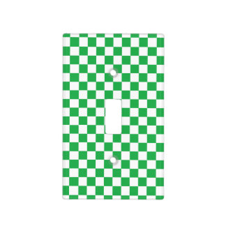 Checkered Green and White Light Switch Cover
