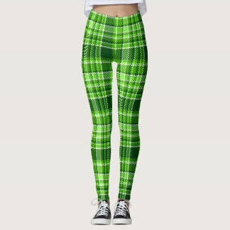 Checkered Green Color Pattern Leggings