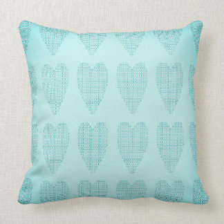 Checkered_Hearts-Faded- Baby_Blue_Contemporary Throw Pillow