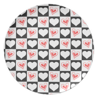 Checkered Hearts Party Plate
