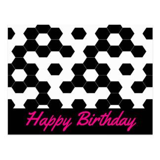 Checkered hexagons postcard