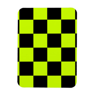 Checkered Large - Black and Fluorescent Yellow Rectangular Photo Magnet