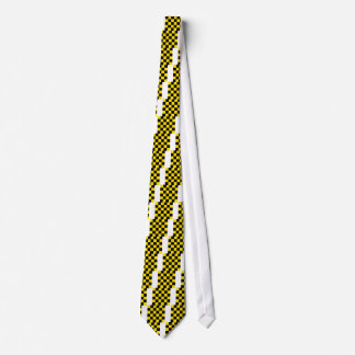 Checkered Large - Black and Golden Yellow Tie