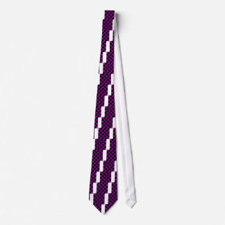 Checkered Large - Black and Purple Tie
