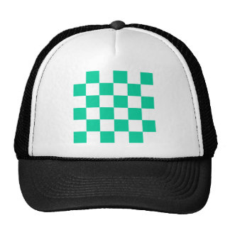 Checkered Large - White and Caribbean Green Trucker Hat
