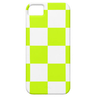 Checkered Large - White and Fluorescent Yellow iPhone 5 Case