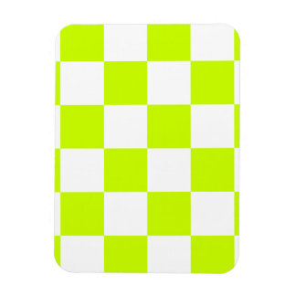 Checkered Large - White and Fluorescent Yellow Rectangular Photo Magnet