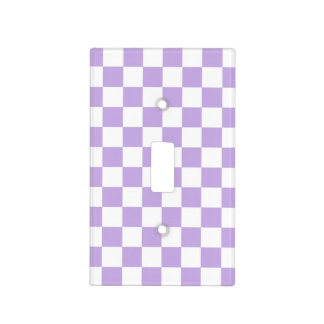 Checkered Lavender and White Light Switch Cover