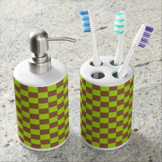 Checkered Lime Green and Brown Bathroom Set