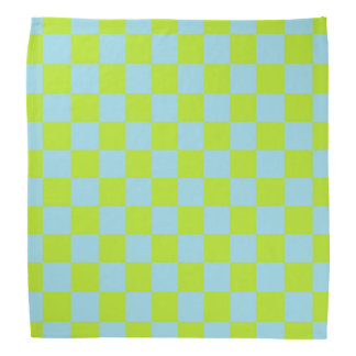 Checkered Lime Green and Pastel Blue Bandana