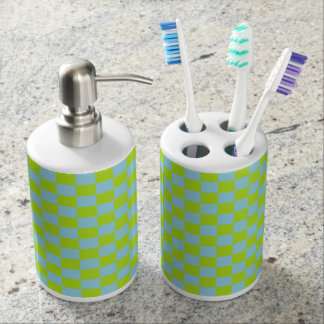 Checkered Lime Green and Pastel Blue Bathroom Set