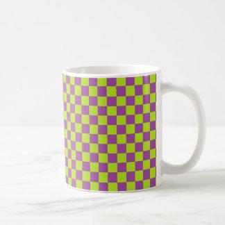 Checkered Lime Green and Purple Coffee Mug