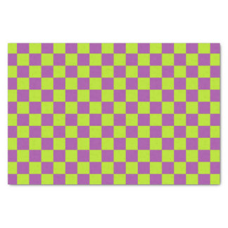 Checkered Lime Green and Purple Tissue Paper