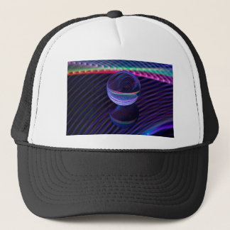 Checkered lines in the glass ball trucker hat