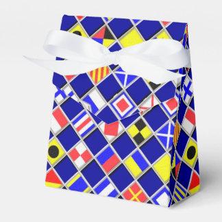 Checkered Nautical Flags Pattern Decor Wedding Favor Boxes