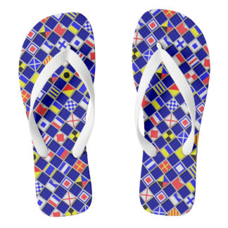 Checkered Nautical Signal Flags Navy Blue Flip Flops