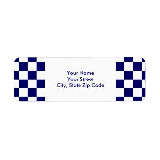 Checkered Navy and White return address label