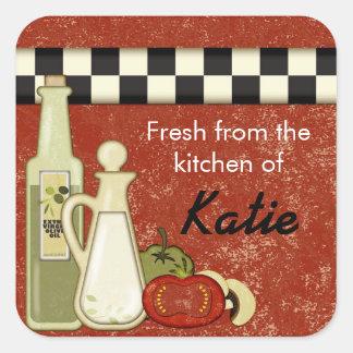 Checkered oil tomato kitchen customizable  sticker