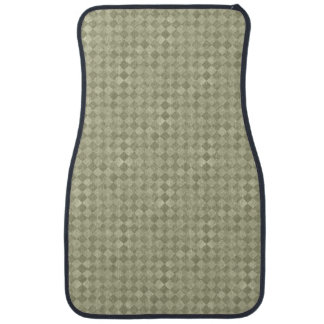 Checkered Olive Green Grunge Front Car Mat
