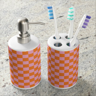 Checkered Orange and Pink Bathroom Set