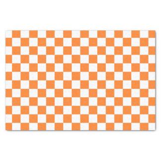 Checkered Orange and White Tissue Paper