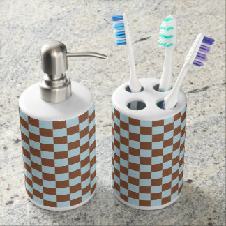 Checkered Pastel Blue and Brown Bathroom Set