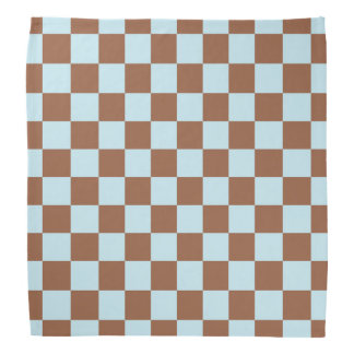 Checkered Pastel Blue and Brown Head Kerchiefs