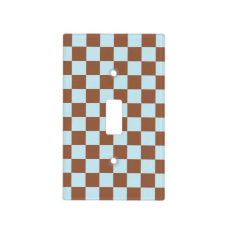 Checkered Pastel Blue and Brown Light Switch Cover